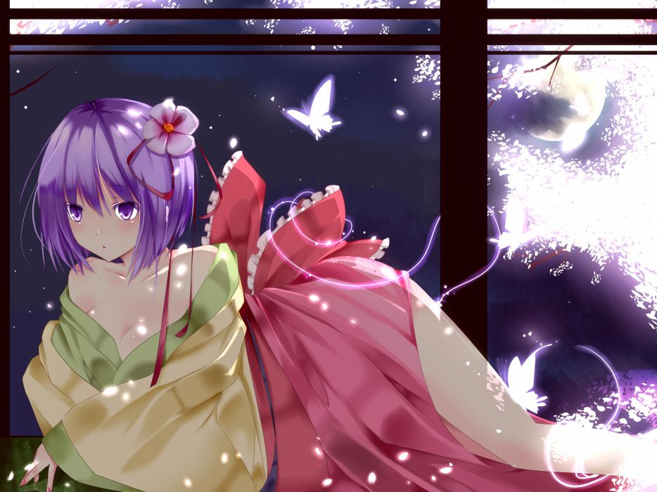 bow butterfly cherry blossoms cleavage flowers hieda no akyuu japanese clothes moon purple eyes purple hair short hair suzuchi1218 touhou wallpaper