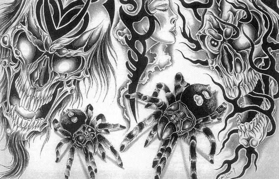 demon skulls dark horror wallpaper