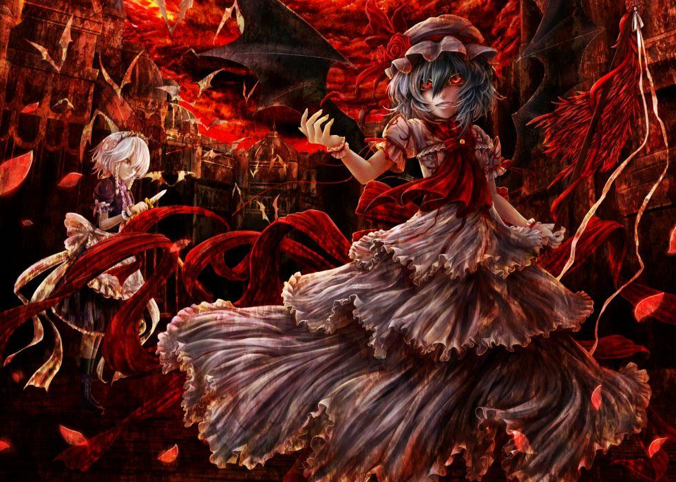 girls animal bat dress flowers hat izayoi sakuya kazabana kazabana knife maid remilia scarlet rose touhou vampire wings wallpaper