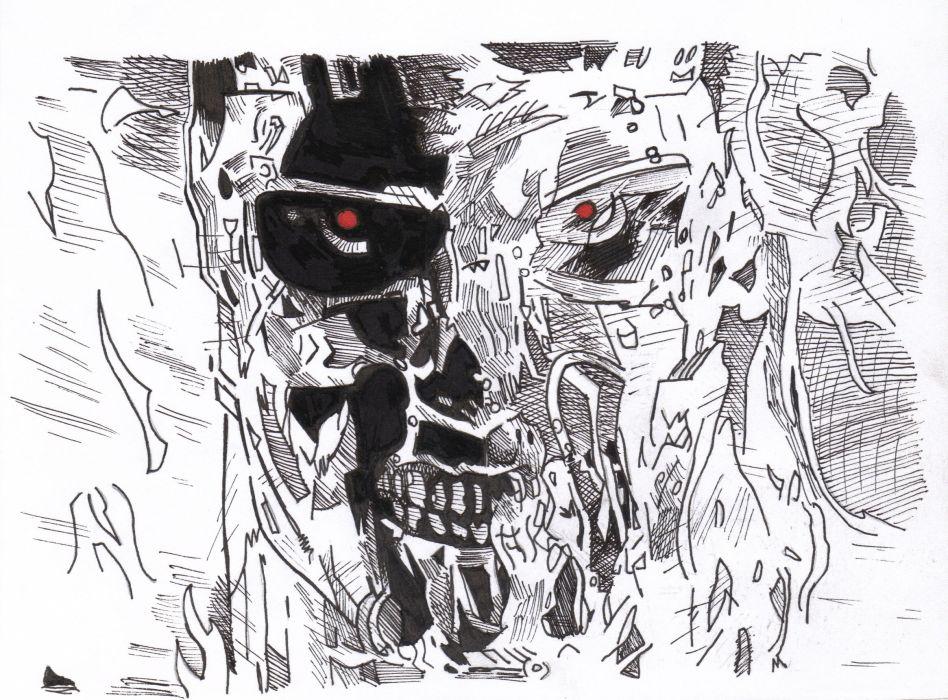 skulls dark horror Pin Terminator movies sci-fi wallpaper