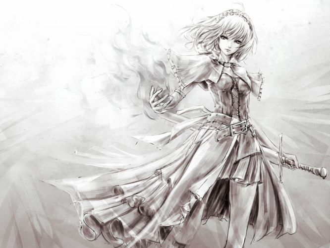 alice margatroid monochrome prince marimo short hair sketch sword touhou weapon wallpaper