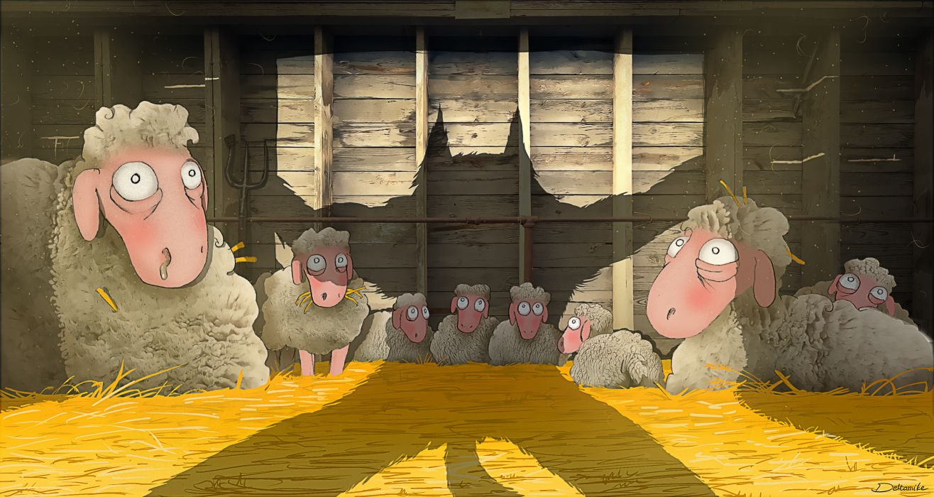 Art Barn Sheep Shadow Wolf Danger Forks Hay Wallpaper