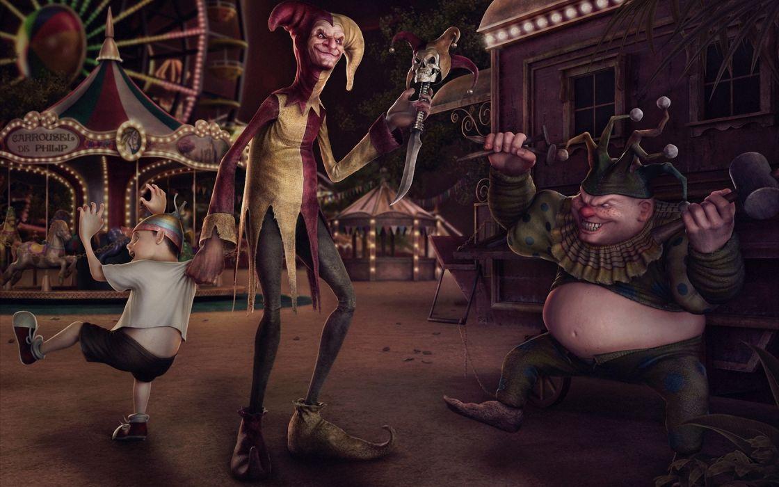 art carousel boy clowns evil weapon danger skull knife hammer number wallpaper