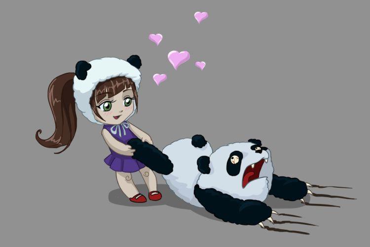 art girl panda bear hearts love fear original anime wallpaper