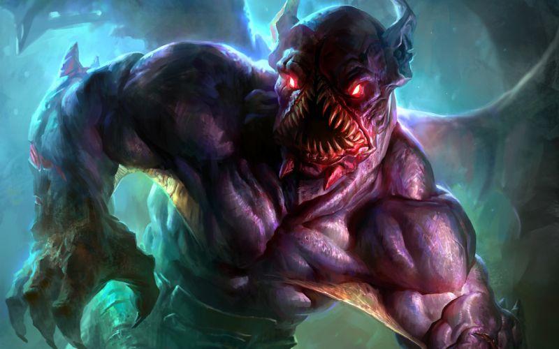 Art Nighstalker Dota 2 monster mouth teeth fantasy wallpaper