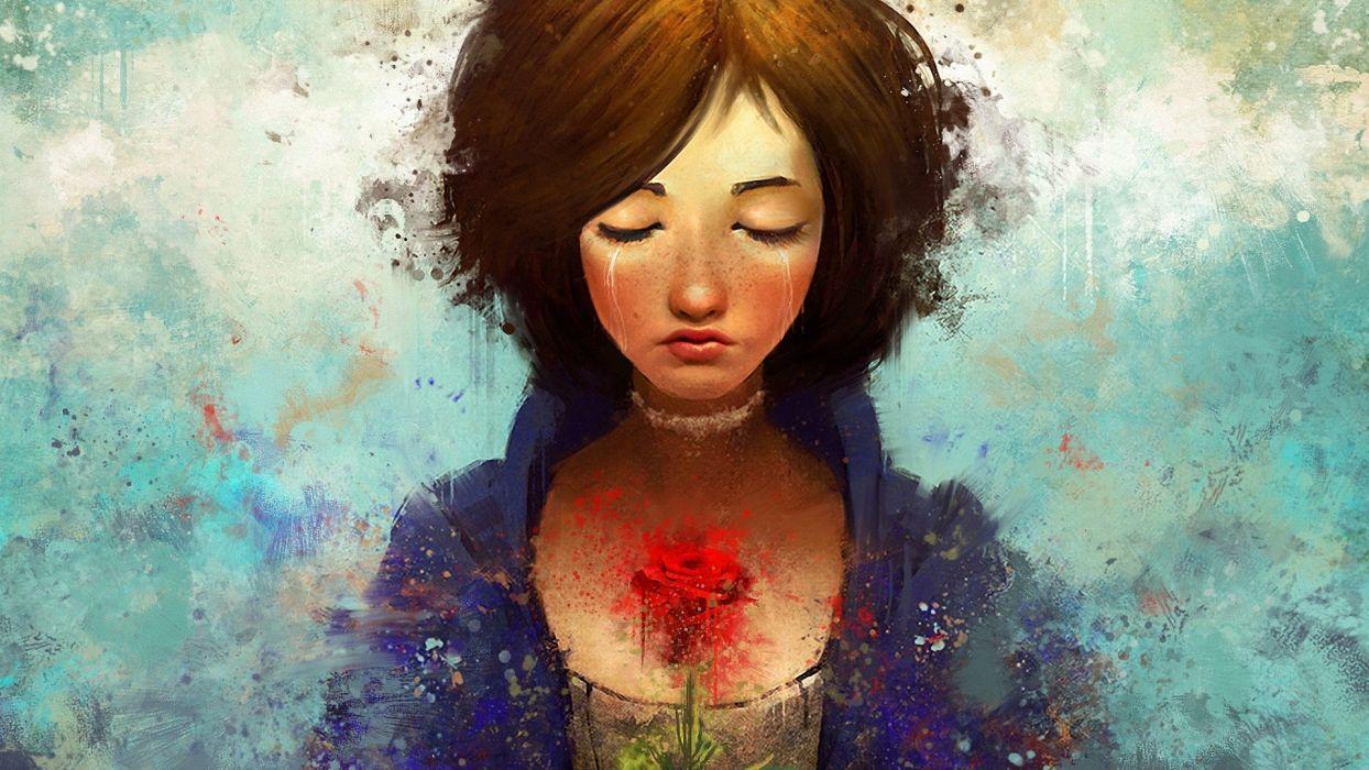 Bioshock Bioshock Infinite Cry Sad Brunette Drawing Face Rose Flower wallpaper