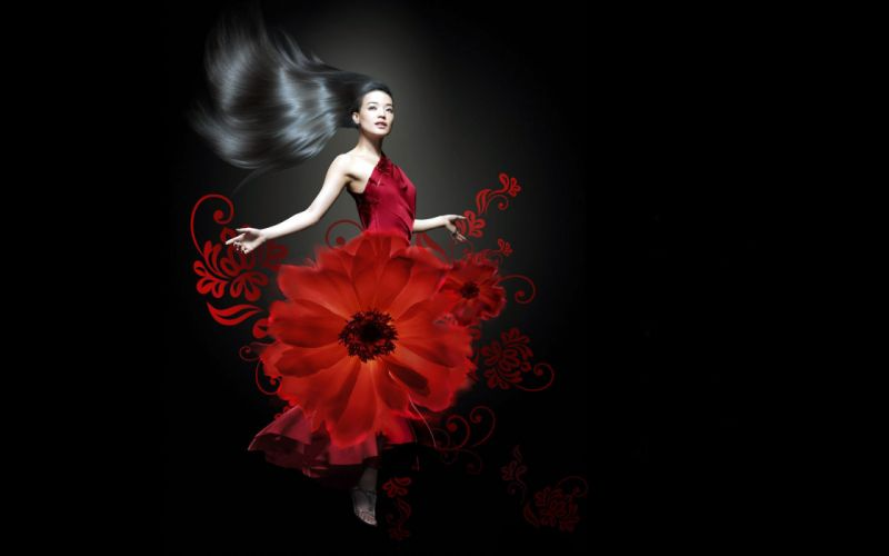black background brunette asian red dress flower wallpaper
