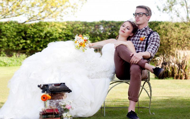 bride bouquet dress shirt man boy glasses bench grass books wallpaper