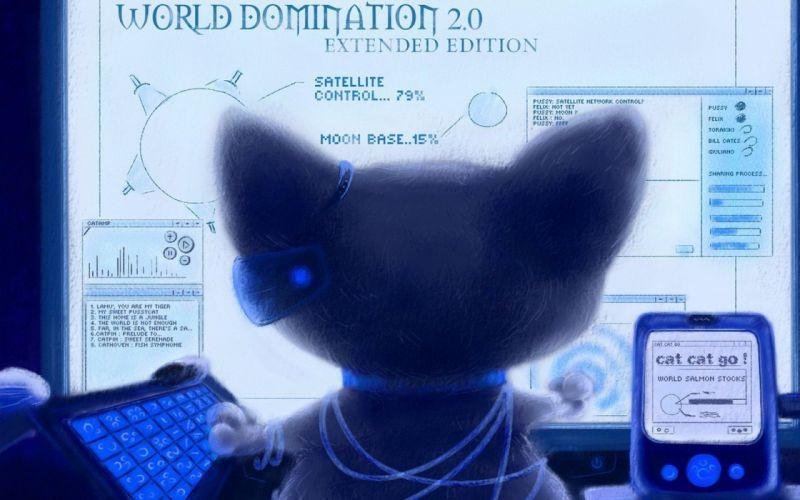cat monitors circuit keyboard command center wallpaper