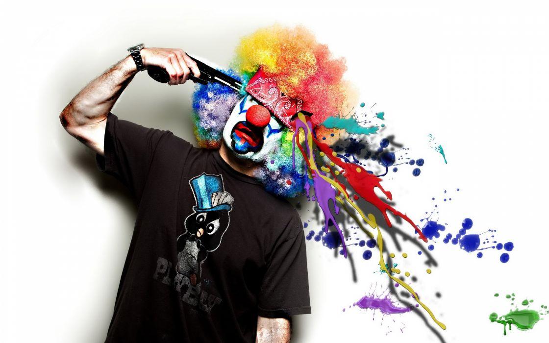 clown barrel paint guns weapon wallpaper