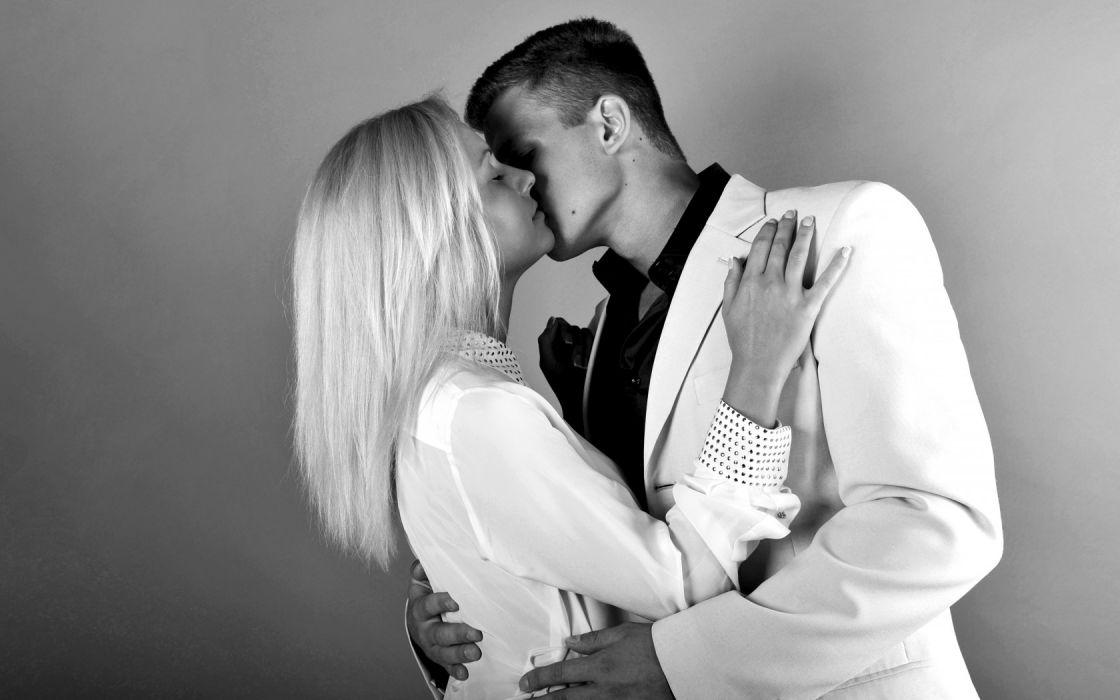 couple contrast white suit romance wallpaper