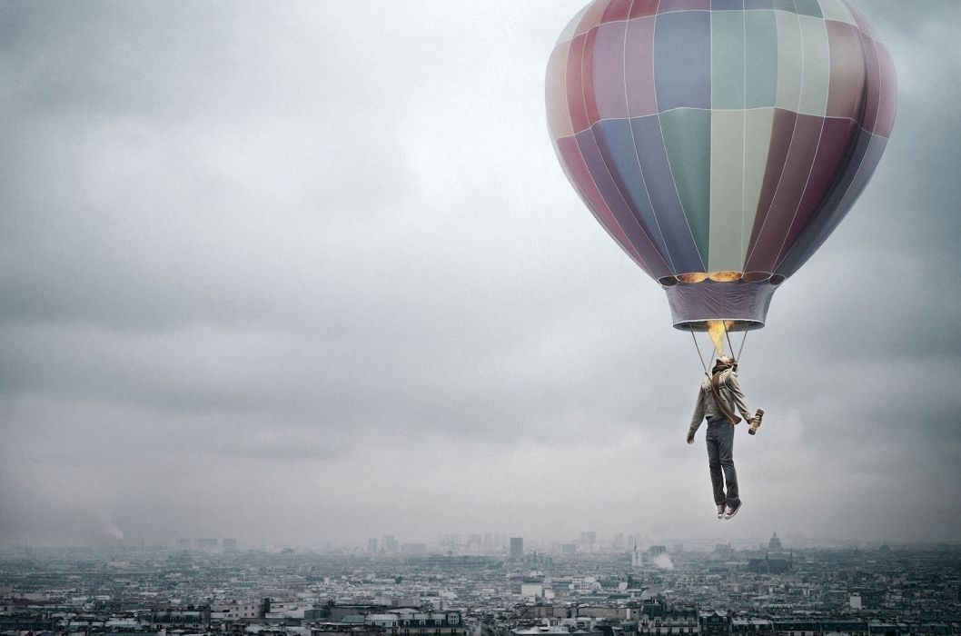 creative city could man balloon fire flight wallpaper
