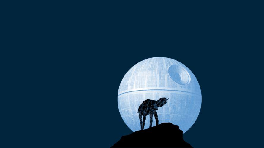 Death Star Walker Blue Moon star wars humor wallpaper
