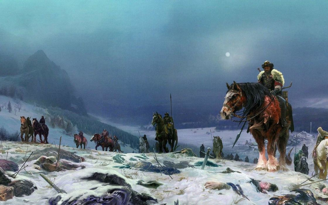 Earth without joy Nick Perumov Annals Hervarda fantasy moon soldiers horses winter snow scene of the battle drawing art wallpaper