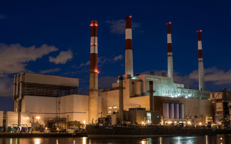 Factory Buildings Refinery Night wallpaper