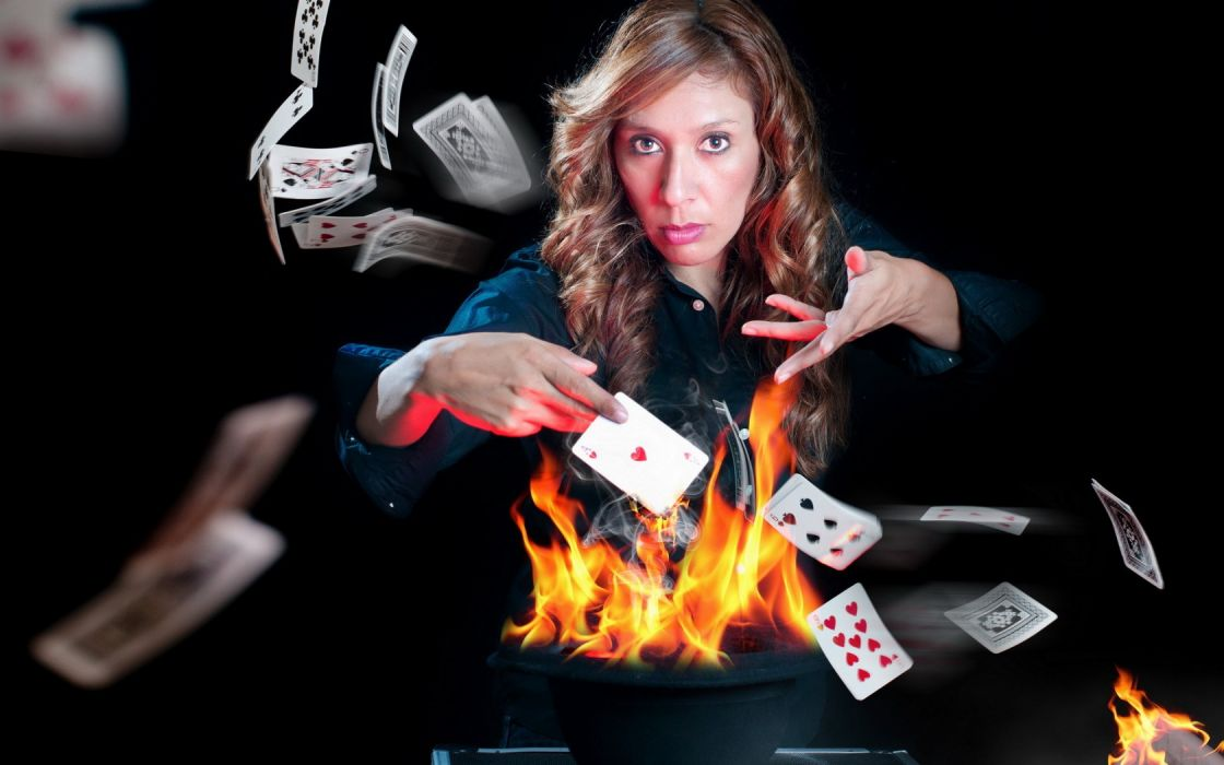 girl card fire situation the game wallpaper