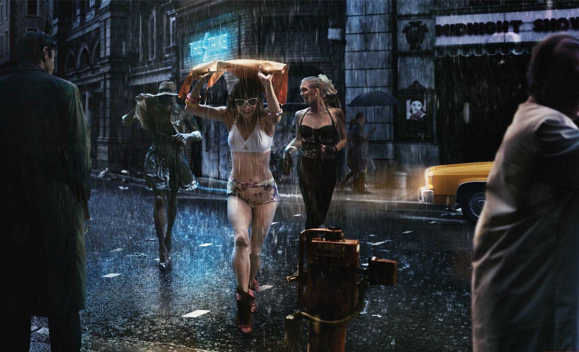 girl street rain joy umbrellas men raincoats wallpaper
