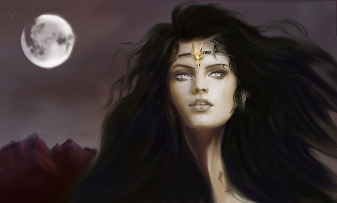 Gothic Moon Hair Brunette girl Fantasy Girls wallpaper