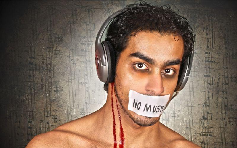 guy headphones music blood dark wallpaper