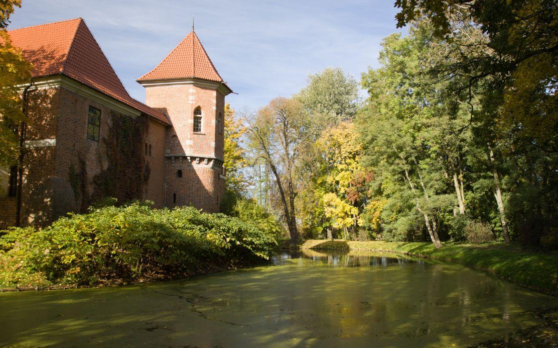 Kutno Poland architecture autumn castle garden trees village pond water nature wallpaper