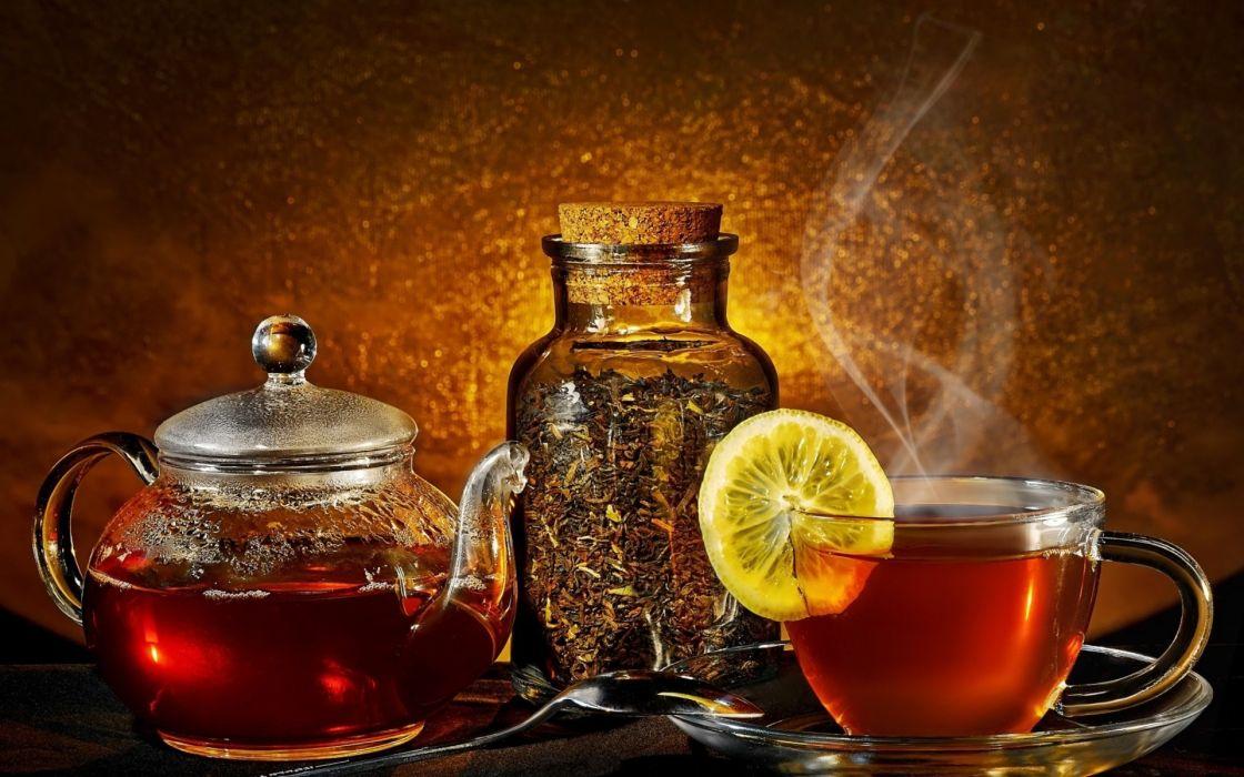 leaves tea steam tea cup lemon wallpaper