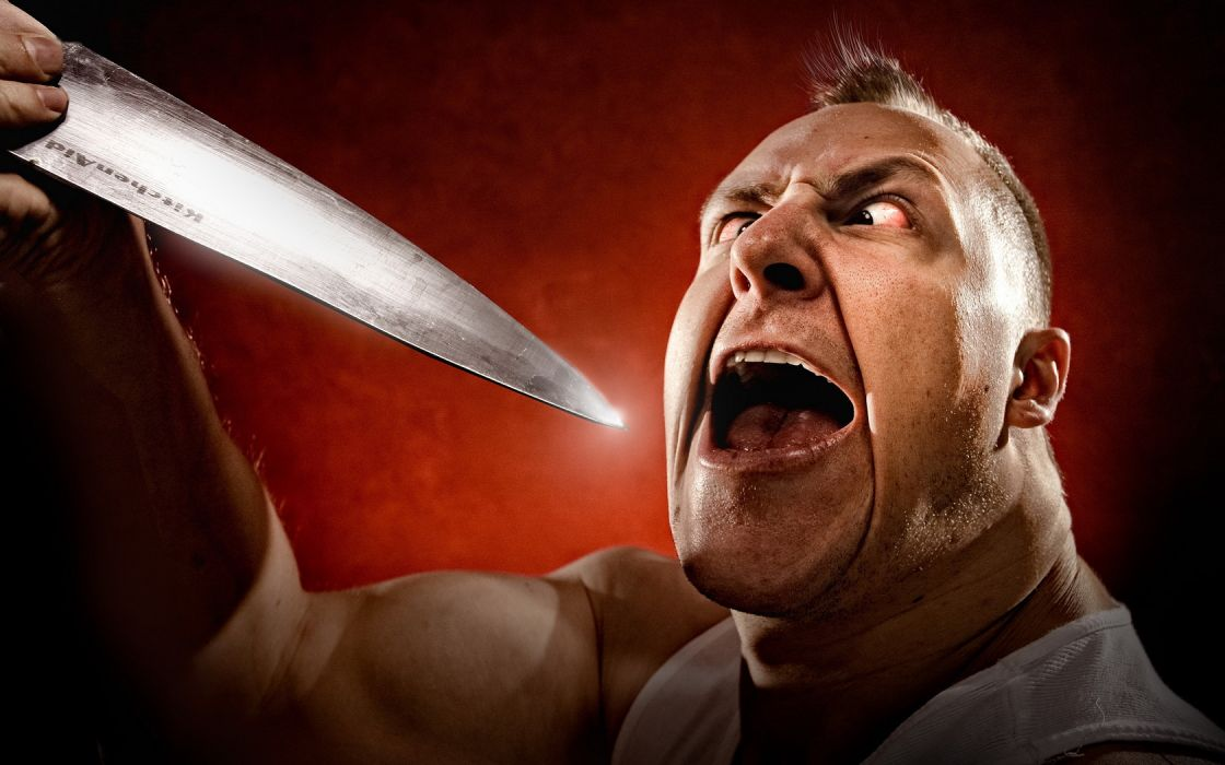 man a knife insane the situation weapons wallpaper