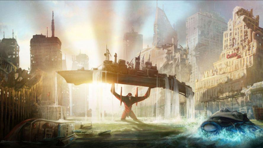 Neon Genesis Evangelion Anime Ship Buildings Sunlight Drawing wallpaper