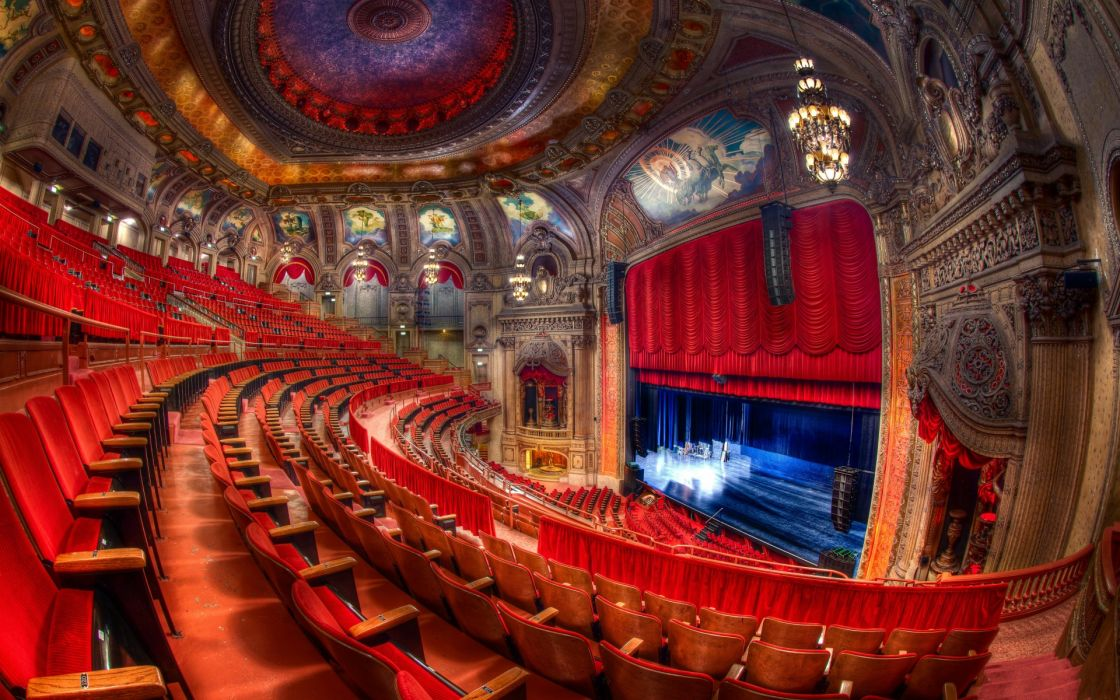 Theatre Chicago scene red chairs light beauty pictures interior design room wallpaper