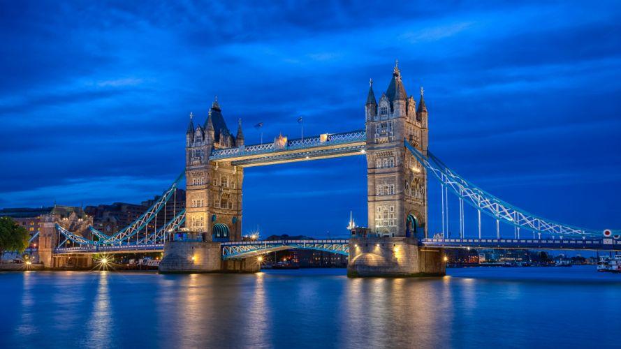 UK England London the capital city the river the Thames Tower Bridge lighting night blue sky wallpaper