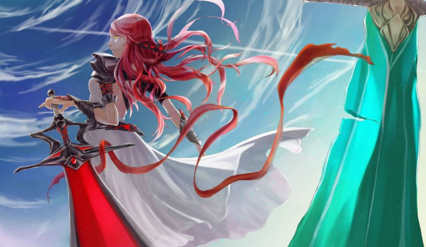 Warriors Swords Redhead girl Ribbon Anime Girls Fantasy wallpaper