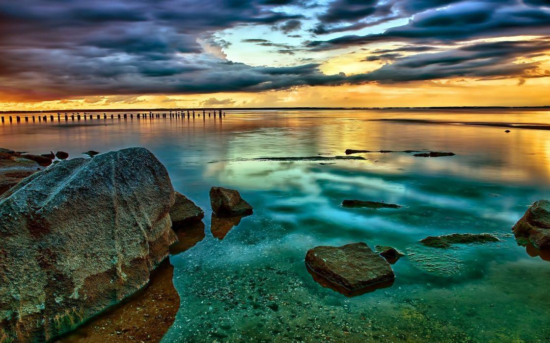 sea sunset rocks landscape wallpaper