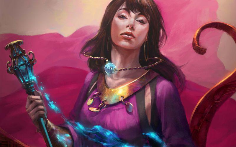 Art Mazert Young fantasy magic girl stick crystal wallpaper