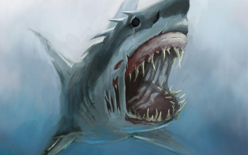 art shark monster mouth teeth underwater hunger wallpaper
