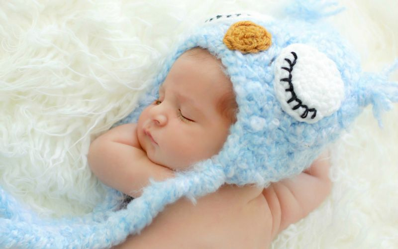 baby sleeping hat blue owl wallpaper