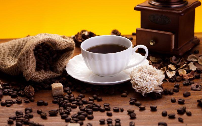 coffee grain bag cup white sugar flower coffee grinder wallpaper