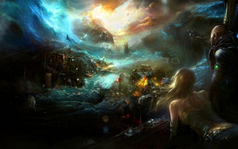 Noah Legend catastrophe wave helicopter man woman fantasy wallpaper