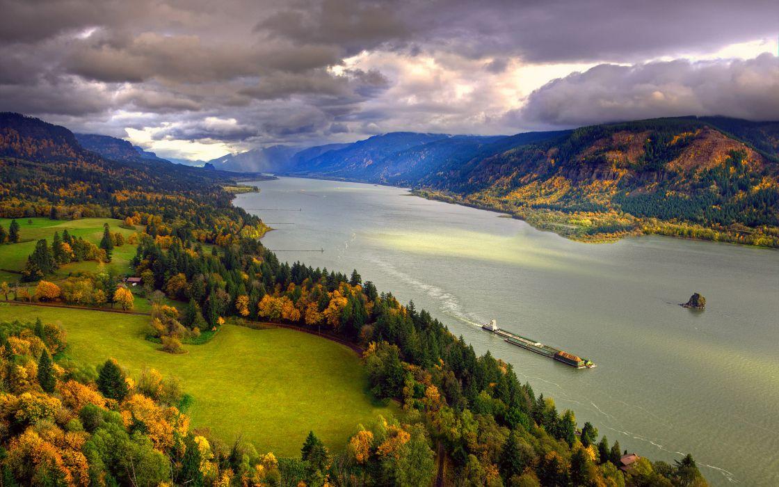North America River Columbia Fall November sky clouds coast autumn wallpaper