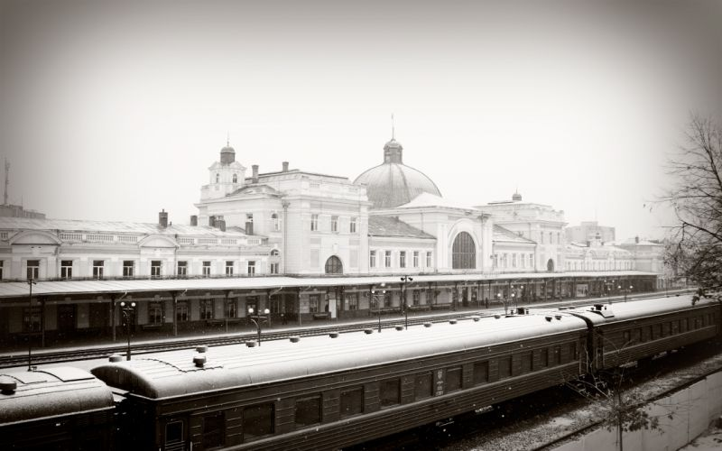 Station train railway snow winter wallpaper