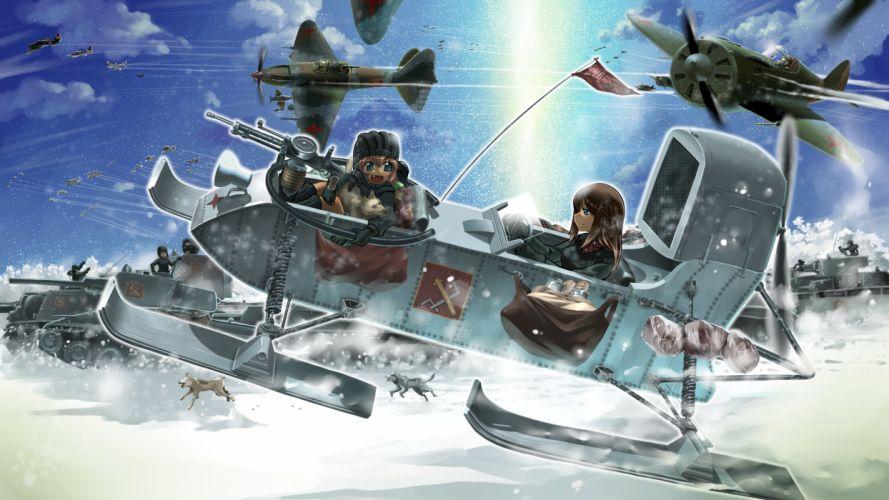 aircraft animal clouds dog girls und panzer gun r-ex sky snow weapon wallpaper