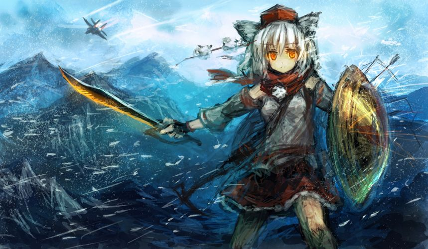 aircraft animal ears hat inubashiri momiji lm7 (op-center) scarf short hair snow sword tagme touhou weapon white hair wallpaper