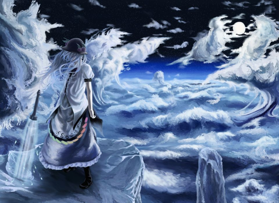 akaikitsune blue hair dress hinanawi tenshi long hair sword touhou weapon wallpaper