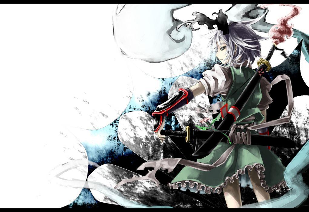 akihira fujinohara armor blue eyes gray hair katana konpaku youmu short hair sword touhou weapon wallpaper