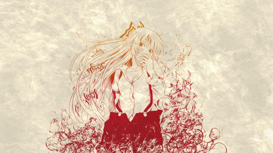 akino sora bow cigarette fujiwara no mokou long hair touhou wallpaper