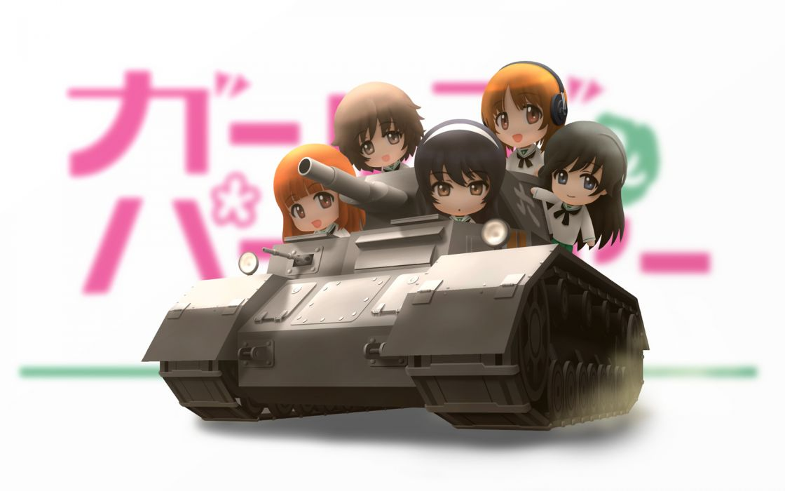 akiyama yukari chibi girls und panzer isuzu hana nishizumi miho reizei mako siraha takebe saori wallpaper