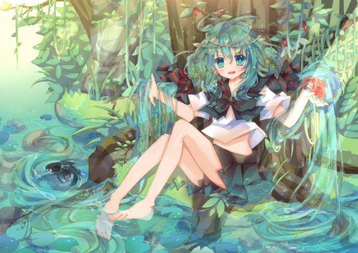 animal aqua eyes aqua hair barefoot bottle miku damage hair fish hatsune miku long hair vocaloid water wallpaper