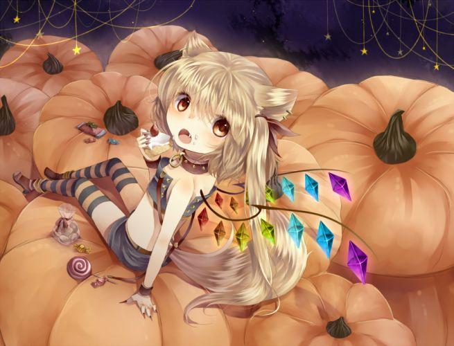 animal ears blonde hair blush collar fang food foxgirl halloween pumpkin red eyes short hair strawberry tail tepes thighhighs touhou wings wallpaper