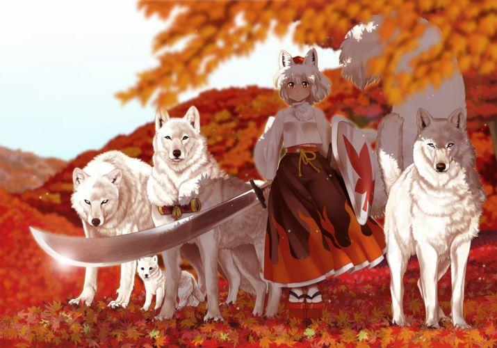 animal ears bon (rump) inubashiri momiji sword touhou weapon white hair wolf wallpaper