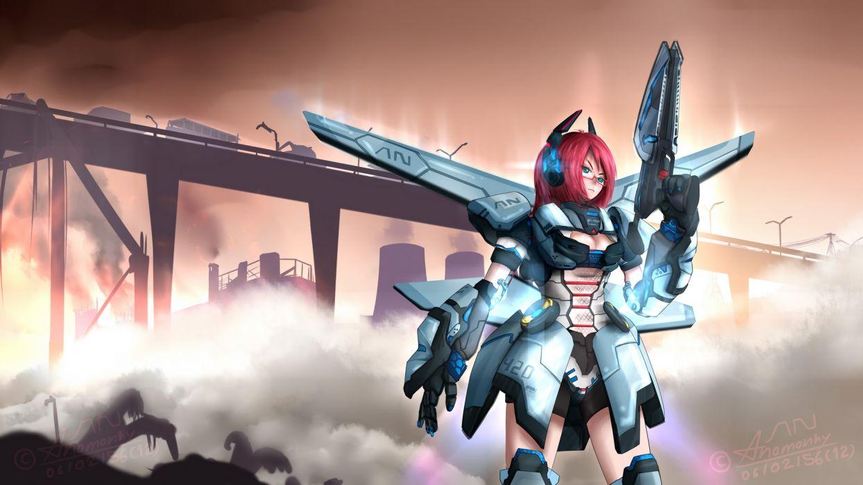 anomonny armor glasses gun mecha phantasy star online signed weapon wings wallpaper