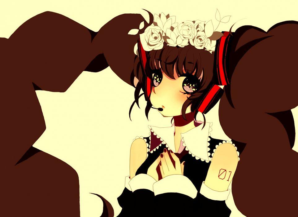 black eyes black hair close flowers hatsune miku headphones long hair nisoku hokou (vocaloid) twintails vocaloid wallpaper
