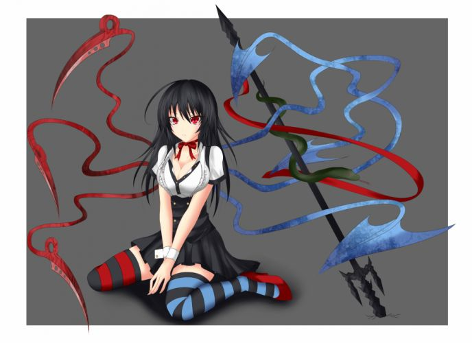 black hair cleavage dress gmot gray houjuu nue long hair red eyes thighhighs touhou wings wallpaper
